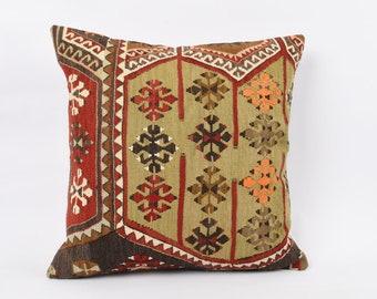 Turkish  striped  pillow 24x24 Anatolian kilim pillow Home decor Throw pillow Bedroom pillow Vintage kilim pillow Pillow cover green No 499