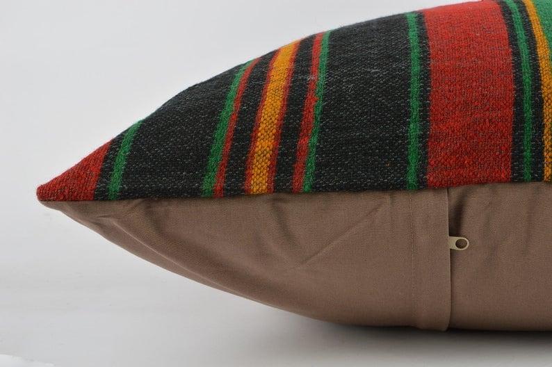 Handwoven Kilim Pillow Bohemian Kilim Pillow Boho Tribal Pillow 24x24 Kilim Pillow Boho Lumbar Pillow Turkish Kilim Pillow Beeding