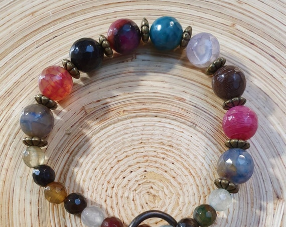 Cry for happiness! Colorful agate bracelet with bronze elements