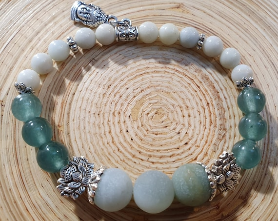 Amazonite bracelet with lotus flowers