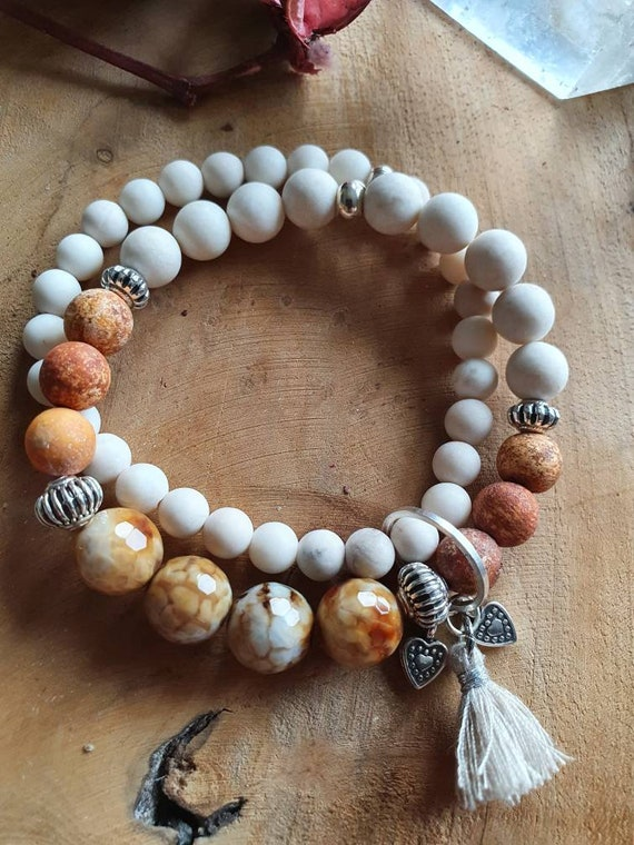 Double bracelet with fire agate
