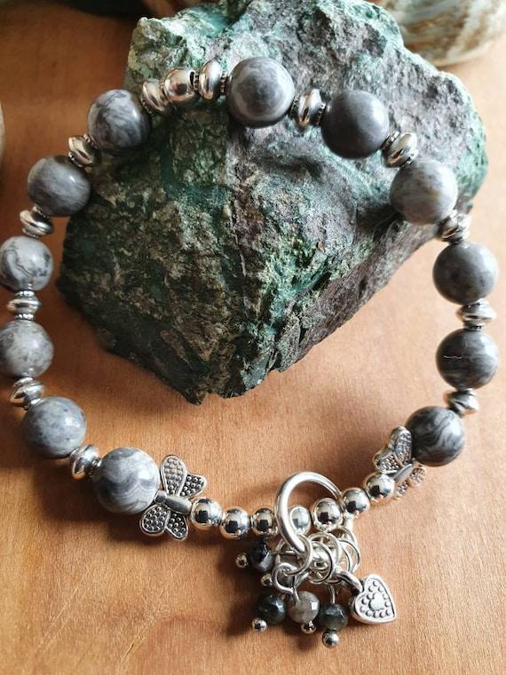 Magical butterfly bracelet made of grey jasper