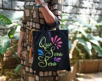 triangle opal ecobag hologram Black Canvas Tote bag with makeup bag simple