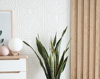 Zen Abstract Wallpaper. Ecru Color.  Peel and Stick Wallpaper. Removable. Accent Wall. Available in Many Colors.
