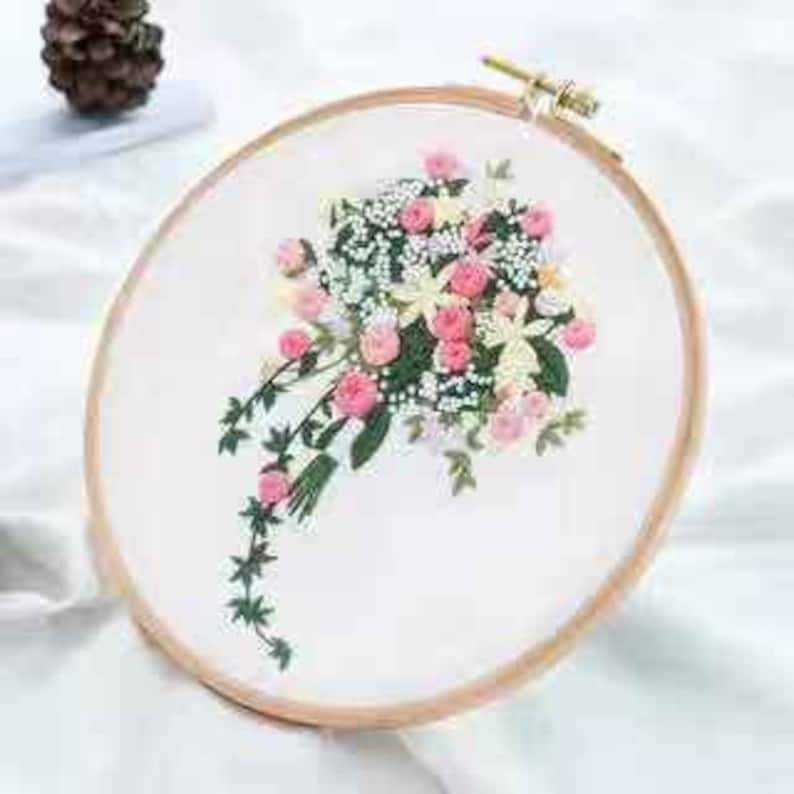 Hand Embroidery Kit-Embroidery Hoop Wall Art Kit Christmas Gift Wedding Flowers Patterns Plants Embroidery Kit For Beginner Modern