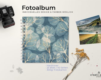 Photo Album - Golden Trees Design | Spiral binding | 270gr photo box