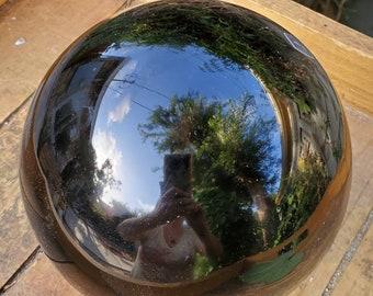 Large Black Obsidian Sphere, Negative Energy Obsidian Vacuum, Polished Obsidian Sphere