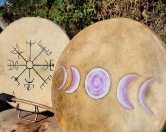 Ceremonial Drum Circle Drums, Moon Phase  Drums, Vegvisir Drums, Circle Drums