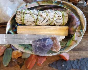 Sage Cleansing Kit with Cobra Stand (OPTIONAL) Includes 2 Crystals, Selenite, White Sage, LARGE Abalone Shell, Palo Santo Stick, Saging Kit
