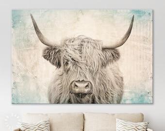 Vintage Highland Cow Canvas Print // Highland Cow Old Wall Background Canvas Print // Vintage Wall Art // Farmhouse Wall Decor