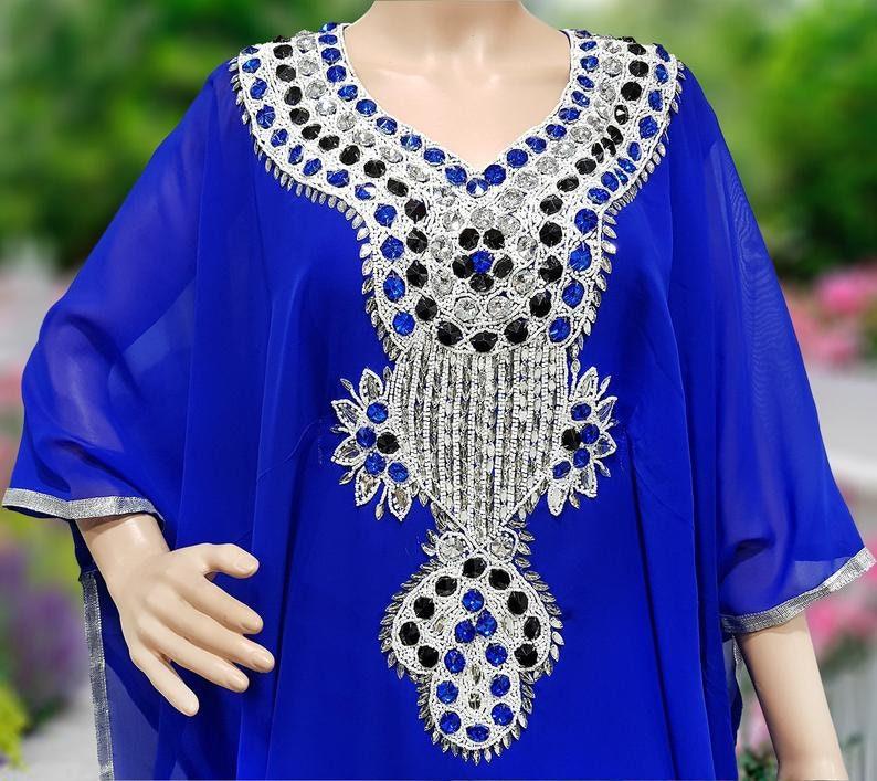 Dubai Fancy Blue Abaya Jalabiya Crystal Stone Hand Work Beaded Kaftan