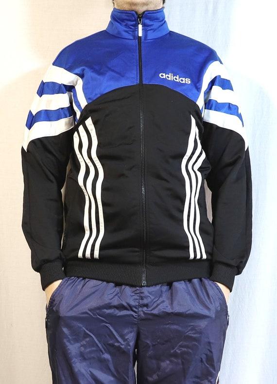 Vintage Adidas track, mens streetwear blue/black t