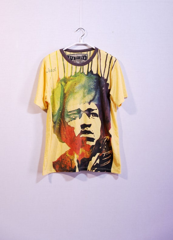 Vintage Weed T-shirts, mens yellow painted tshirts