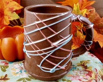 Ceramic mug rustic slip trailed design 12 ounces