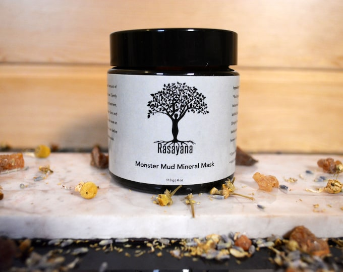 Monster Mud Mineral Mask Organic Acne Treatment  Wild Crafted Lavender Tee Tree Acne Skin Care Anti-bacterial French Green Clay Healing Mud