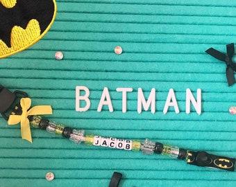 Personalised Stunning Black Batman Dummy Clip Chain for reborn dolls