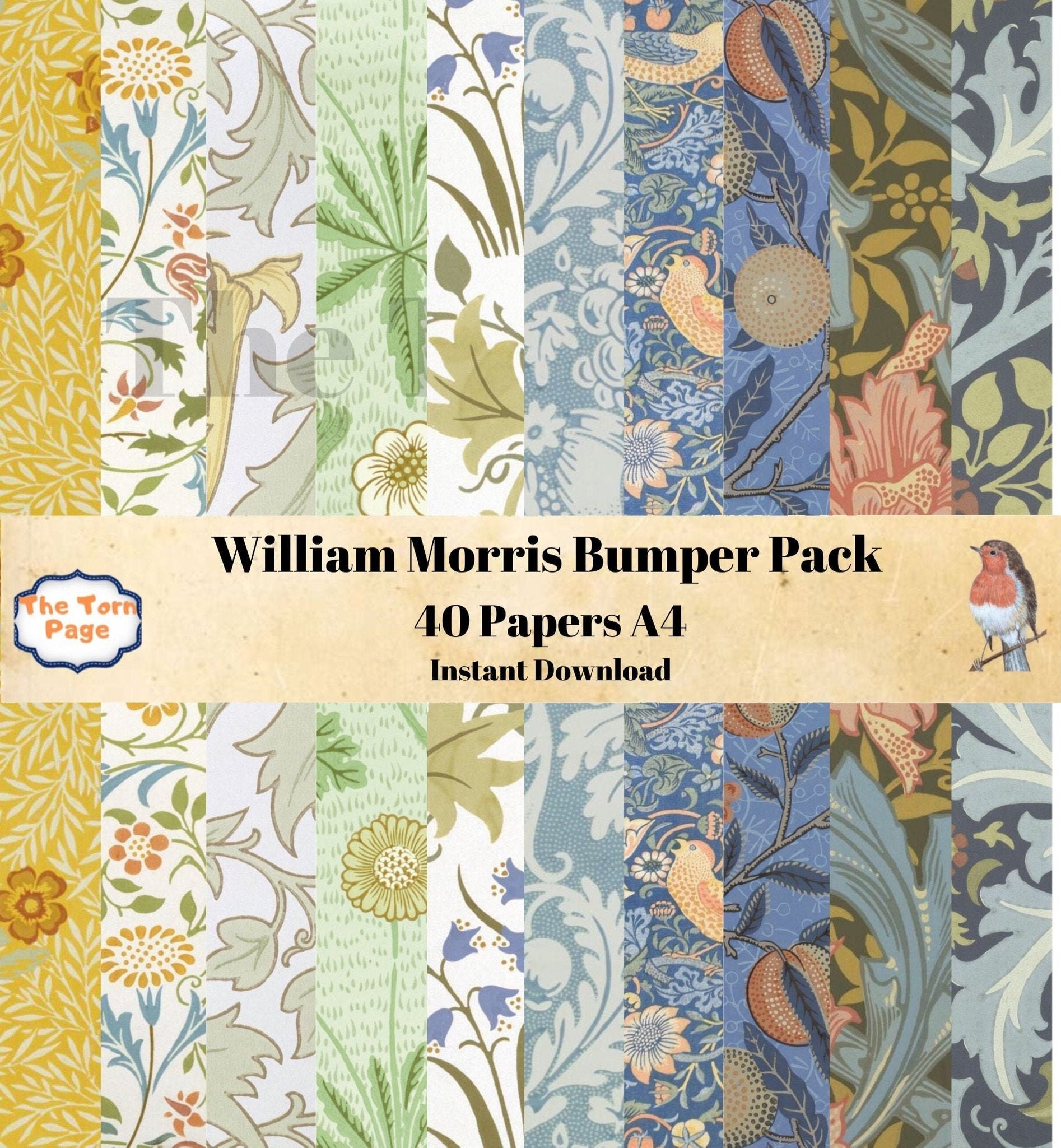 Digital Vintage Papers, William Morris Bumper Pack, 40 Digital Collage Sheets, A4, Printable Paper, Shabby Chic Paper, Wrapping Paper