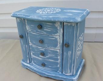 Upcycled Jewelry Box, Farmhouse Style Jewelry Box, Blue Jewelry Armoire, Chalk Painted, Jewelry Storage, Girl's Jewelry Box