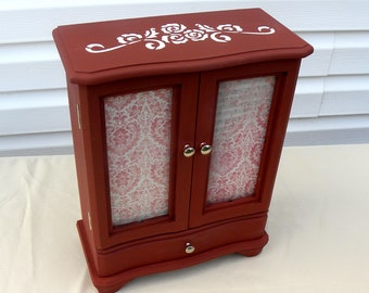 Chalk Painted Jewelry Box, Dark Red Upcycled Jewelry Armoire, Storage for Necklaces and Rings, Gift for Her, French Country Style