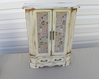 Upcycled Jewelry Box, Antiqued Vintage Jewelry Armoire, White Painted French Country Jewelry Box, Storage for Necklaces