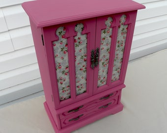 Upcycled Jewelry Box, Pink Purple Vintage Jewelry Armoire, Refurbished Jewelry Box, Painted Jewelry Box, Jewelry Storage