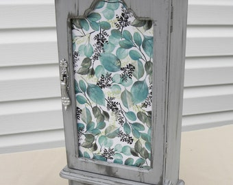 Upcycled Jewelry Box, Grey Jewelry Box, Vintage Jewelry Armoire, Necklace and Ring Storage