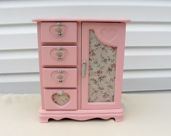 Pink Painted Jewelry Box, Heart Jewelry Box, Pink Vintage Jewelry Armoire, Girl's Jewelry Box, Upcycled Jewelry Box, Girls Room Decor