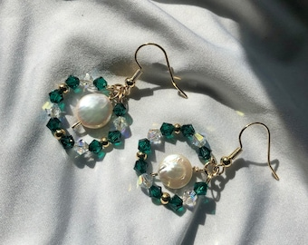 14k Gold Plated with flat pearl 23-25mm Frosted Earring with Pearl Drops Statement Earring, Levain Frosted Dangle Bridesmaid Jewelry