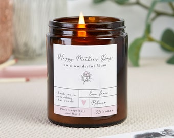 Mother's Day Gift Personalised Soy Candle