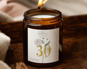50th Birthday Gift Floral Personalised Candle