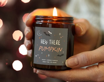Hey There Pumpkin Halloween Decoration Candle