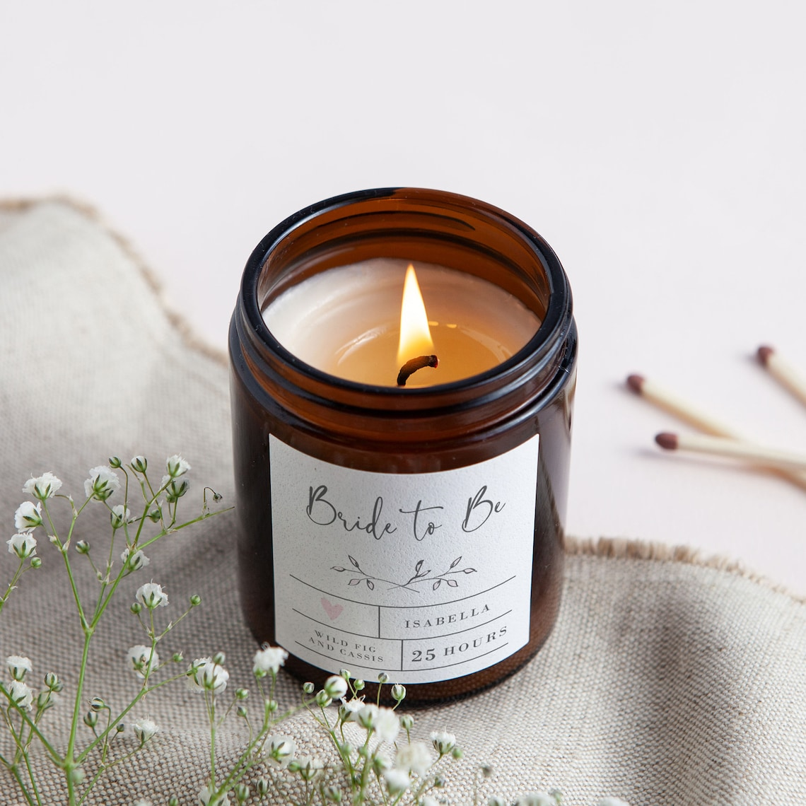 Bride To Be Personalized Candle