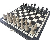 Wooden Chess Set  Decorative Folding Chess Board Set Chess Lover Gift Handcrafted Chess pieces Chess Board Game Chess set idea Birthday Gift