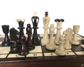 Decorative Chess Pieces  Folding Chess Board Set  Chess Gift idea  Wooden Chess Set  Handcrafted Chess Set  Chess Board Game  Christmas Gift