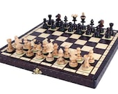 Handcrafted Chess Set  Wooden Chess Set Chess Board Game Decorative Chess Pieces and Folding Chess Board Set  Birthday gift Fathers Day Gift
