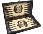 Chess and Backgammon Set Folding Chess Board  Backgammon board with a Lion graphic Handcrafted chess board and chess pieces