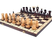 Luxury Folding Wooden Chess Set   Wooden Chess Board Game   Decorative  Chess Set  Chess Lover Gift  Handcrafted Stylish Chess Board Set