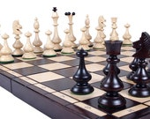Wooden Chess Set  Handcrafted Chess Set  Chess Board Game  Decorative Chess Pieces and Folding  Chess Board Set Christmas Gift Birthday Gift