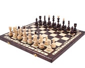 WOODEN CHESS BOARD Set - Decorative Folding Chess Board Set - Chess Lover Gift- Handcrafted Chess Board Set - Chess Board Game