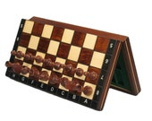 Hand crafted magnetic travel chess set with folding board  Perfect for travel   Ideal Birthday gift, Fathers Day or for Special Occasion.