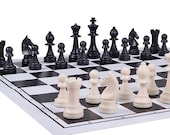 Staunton style Plastic Chess Pieces with King in size 98mm complete with foldable plastic chess board  Ideal Christmas Gift for Chess Lover