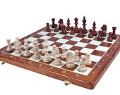 Wooden Tournament Chess Set with Weighted Chess Pieces | Folding Chess Board 480x480mm | Handcrafted Economy Wooden Tournament Chess Set