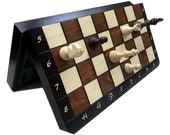 Hand crafted magnetic travel chess set with folding board  - Ideal for travel - Perfect Birthday gift - Magnetic folding chess set and board