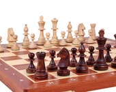 Wooden Chess Set | Tournament Chess set with Weighted Chess Pieces | Folding Chess Board | Handcrafted Wooden Chess Pieces | 480x480mm board