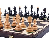 Decorative Chess set with Folding Chess Board | Chess Set gift | Chess Lover Gift | Handcrafted Chess Board Set | Wooden Chess Board Game