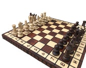 Folding Wooden Chess Set UK | Chess Board Game | Decorative Folding Chess Board Set | Chess Gift | Handcrafted Chess Board Set Birthday Gift