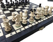Handcrafted Chess Set with storage | Wood Chess Set UK | Chess Board Game | Decorative Chess Pieces | Folding Chess Board set |Birthday gift