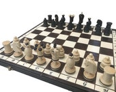 Decorative Wooden Chess Set with storage | Handcrafted Folding Chess Set | Chess Lover Gift | Decorative Chess Board Set | Chess Board Game