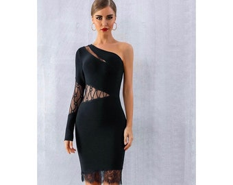 Cold Shoulder Black and Beige Dress Asymmetric Midi Dress One Sleeve Dress One Shoulder Dress MD1435 Leyla Dress Marcellamoda