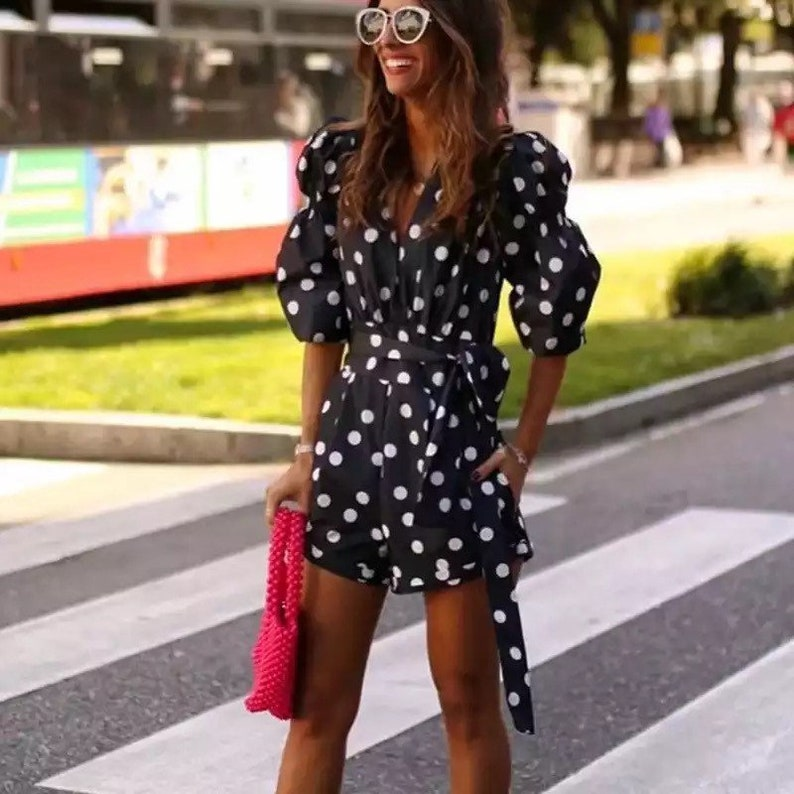 Romper with Belted Tunic Long Sleeves Jumpsuit Women Jumpsuit High Street Fashion Summer Outfit Women Polka Dot Romper